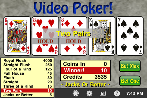 Schermata di un video poker gratis
